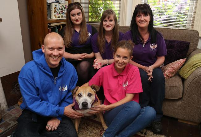 Aimee Vye, Sophie Vye, Calli Byrne, Mark Andrews and Emily Andrews with 10 Year old adopted staffie Bobby.